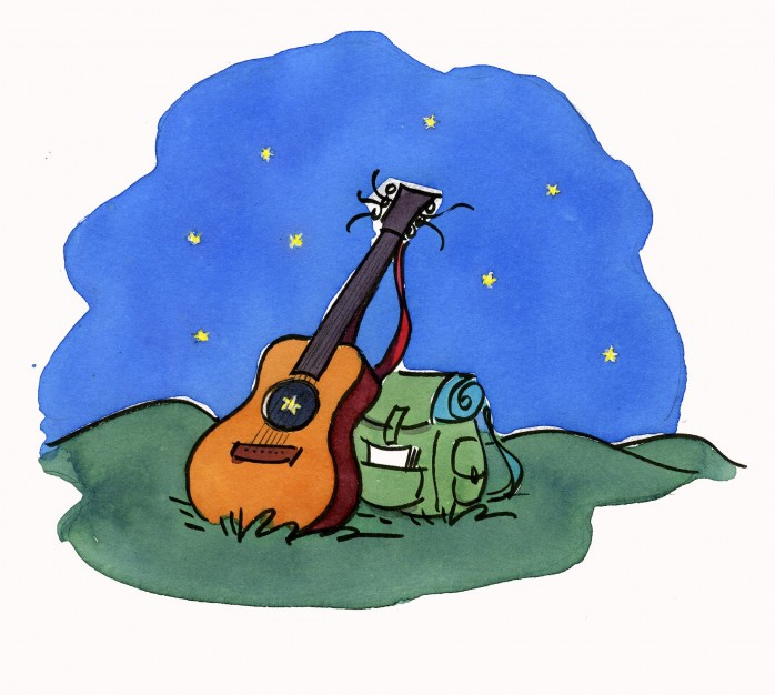 Guitare avec étoile-sac à dos-sur nuit étoilée
